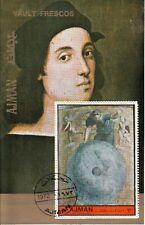 Ajman 1972 Primo moto Affresco dipinto Raffaello Sheet CTO Perf. Painting Urania