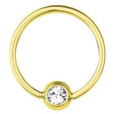 BCR Gold Plated Titanium Piercing 0,8 mm, SWAROVSKI ELEMENTS White | 6 - 12 mm