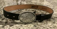 Justin Boys Champion Buckle Black Leather Belt Made in Usa Size 22