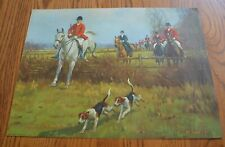 1930's Print English Fox & Hounds Hunting Scene Horse Jumping Fence 16 x12
