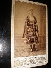 Cdv photograph woman plaid or tartan costume Russ at Koniggratz Czech c1880s