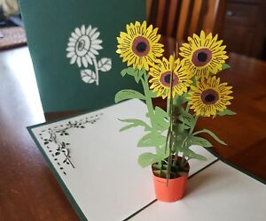 3D Pop Up Beautiful Sunflowers Card. Ideally for Birthday, Get Well, Thank You..