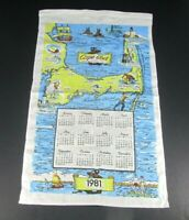 Vintage 1981 Cape Cod Massachusetts Linen Cloth Wall Calendar MA Nantucket