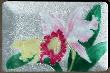 Japanese ANDO Cloisonne Enamel Orchid Flower Tray Pearlescent