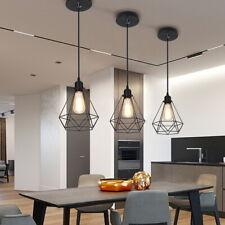 3x Cage Kitchen Pendant Lights Modern Hanging Cord Lamp Fitting Black