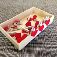 Newfangled 20Pcs Mini Wooden Red Heart Pegs Photo Paper Clips Cute Decor Craft