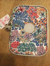 Kipling 100 Pens Pencil Case Cosmetic Pouch Little Flower Blue