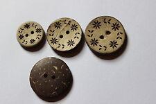 10 Kokosnussknöpfe, ca. 23 mm Durchmesser
