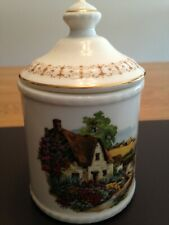 Fenton China box (or beaker/cup) with lid country cottage thatch roof