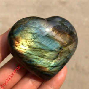 1pc Natural rainbow labradorite heart quartz crystal carved reiki healing