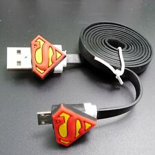 Blak USB Data Cable Charger Sync Cord with Super Hero Logo for Android Phone