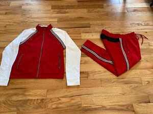 Vantage Armani Exchange Logo Tape Tracksuit Jacket & Pants Set Red Men Size Xl