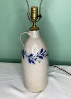 Salmon Falls Stoneware Blue Salt Glaze Pottery Berry Vine Tall Jug Lamp 1995