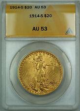 1914-S $20 St. Gaudens Double Eagle Gold Coin ANACS AU-53 JBH