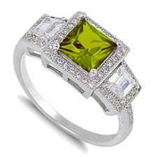 Princess Cut Promise / Engagement / Birthstone Sterling Silver Ring Size 3 - 12