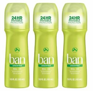 Ban Roll-On Antiperspirant Deodorant, Unscented, 3.5 Ounce (3 Pack)