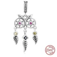 🕊 DREAMCATCHER FEATHER OWL GENUINE STERLING SILVER 925 CHARM BEAD PENDANT GIFT