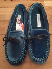 John Lewis Blue Velvet Moccasin/ Slipper Size 40/41  Large RRP £28 (BNWT)