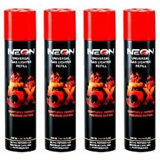 4 CANS NEON IGNITUS BUTANE GAS 300ml 5X REFINED FILTERED LIGHTER REFILL FUEL