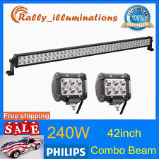 "PHILIPS 42""INCH 240W LED LIGHT BAR SPOT FLOOD COMBO+2X 4'' 18W CREE OFFROAD LAMP"
