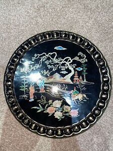 Baret Ware England in Cathay Cocktail Tray Chinese Oriental On Black - Vintage