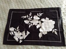 A NEW PAIR OF OXFORD PILLOW CASES, BLACK & EMBROIDERED. 300 Thread Count.