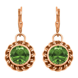 Twisted Rope 1.25 Ctw Round Green Sapphire 9K Rose Gold Women Earring