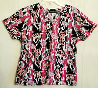 Pink Panther Scrub Top size Small Pink & Black Cartoon Cat Cotton Nurses Shirt