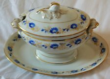 Small Vintage Hand Painted Blue and Gold Porcelain Tureen w/ Lid