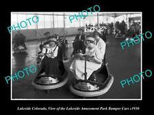 OLD LARGE HISTORIC PHOTO OF LAKESIDE COLORADO, AMUSEMENT PARK BUMPER CARS c1930