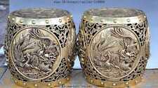 "10""chinese brass Dragon Phoenix Magpie Plum flower lucky statue Stool Chair Seat"