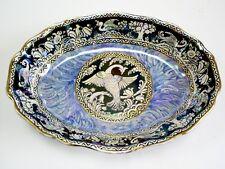 Hermosa vintage grandes Newhall boumier myhical Pájaro Estriado Oval Plato/Cuenco