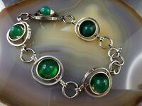 Leuchtend grünes älteres Vintage Armband Chrysopras 835 Silber Modernist
