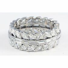 Platinum Baguette & Marquise Diamond Wreath Band Ring 4.05 TCW Channel & Prong