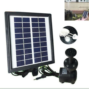 2.8W Solar Power Fountain Water Pump With Battery LED Light Garden Plants Pond