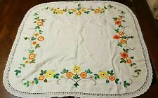 Linen embroidered tablecloth crochet edge 90 x 90 cm heavy cream supper cloth