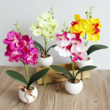 3 Heads Home Artificial Butterfly Orchid Mini Fake Flowers Bouquet Wedding Decor