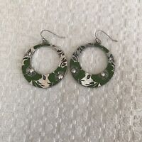 Nine West 'V America' Brushed Silver Tone Green Floral Pierced Hoop Earrings