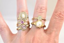 Lot Delicate Stackable Pink Rhinestone Rings Faux Pearl Gold Tone Size 5.5 - 7.5