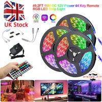 49FT 15M RGB 3528 LED Strip Lights With IR Remote Back Light 12V Colour Changing