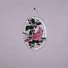 OVAL HAND TEXTURED PAINTED CARDINAL ON A HOLLY TREE SUNCATCHER BY SPOONTIQUES