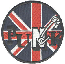 Patch thermocollant écusson patche Punk rules UK Union Jack brodé
