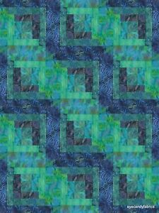 12 Block Log Cabin Quilt Kit Batik Fabric PACIFIC NIGHTS #2  NEW  Pre-cut