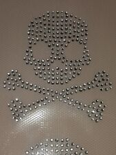 Crystal Diamante Strass Iron on Skull Kids hotfix applique écusson patch