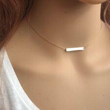 "14K Solid Yellow Gold Mini Geometric Bar Plate Adjustable Choker Necklace 16"""