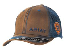 Ariat Western Hat Cap Mens Baseball Snap Back Adjustable Oil Skin Navy 1509502