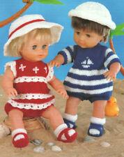 "Vintage 12- 22"" Dolls Clothes Romper Sun Hat Socks Sandals  DK Knitting Pattern"