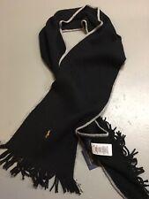 New! Polo Ralph Lauren Pony Black Gray Merino Wool Scarf