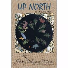 """Up North 15"""" Round Mat pattern  ~ Hand Work~ Wool, Embroidery #12 perle cotton"""