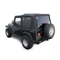 Jeep Wrangler YJ Soft Top, 88-95, Upper Doors, Tinted Windows, Black Denim